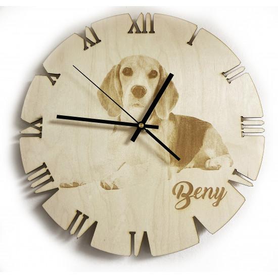 Drevené hodiny s gravírovanou fotografiou 35 cm - DH2