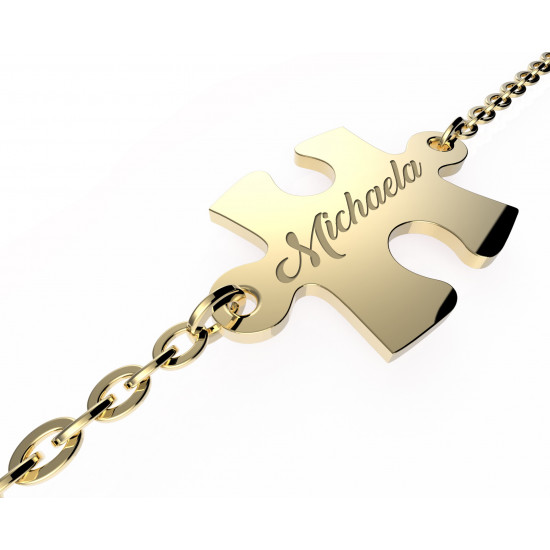Zlatý náramok s puzzle