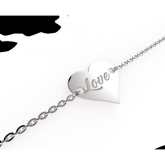 Strieborný náramok so srdcom