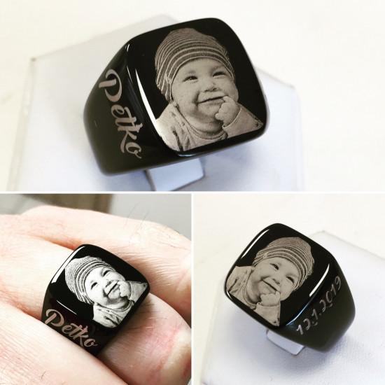 Prsteň s gravírovanou fotografiou